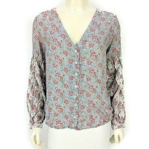 Lucky Brand Floral V-Neck Blouse Shirt Top Large